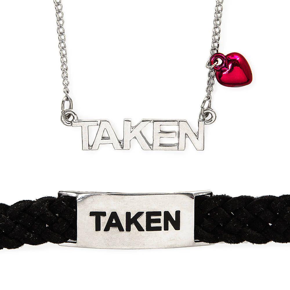 boyfriend girlfriend taken necklace and bracelet set. Black Bedroom Furniture Sets. Home Design Ideas