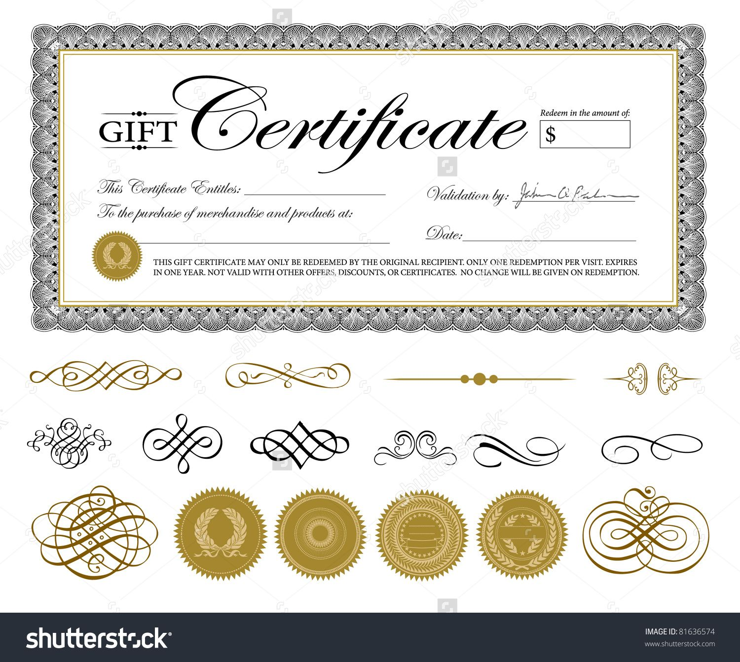 Vector Premium Certificate Template and Ornaments. Easy to edit ...