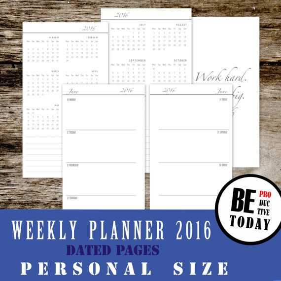 Personal Inserts Weekly Planner  Dated Weekly Planner