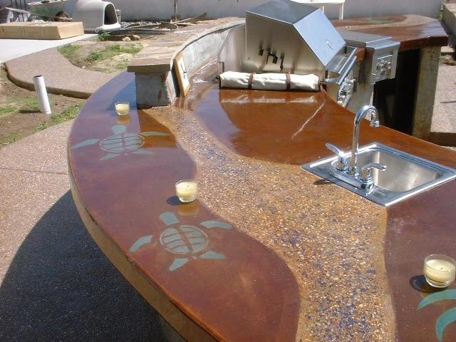 Turtle Bbq Outdoor Outdoor Kitchens Concepts In Concrete Const Inc San Diego Ca Outdoor Kitchen Countertops Outdoor Kitchen Bars Outdoor Living Rooms