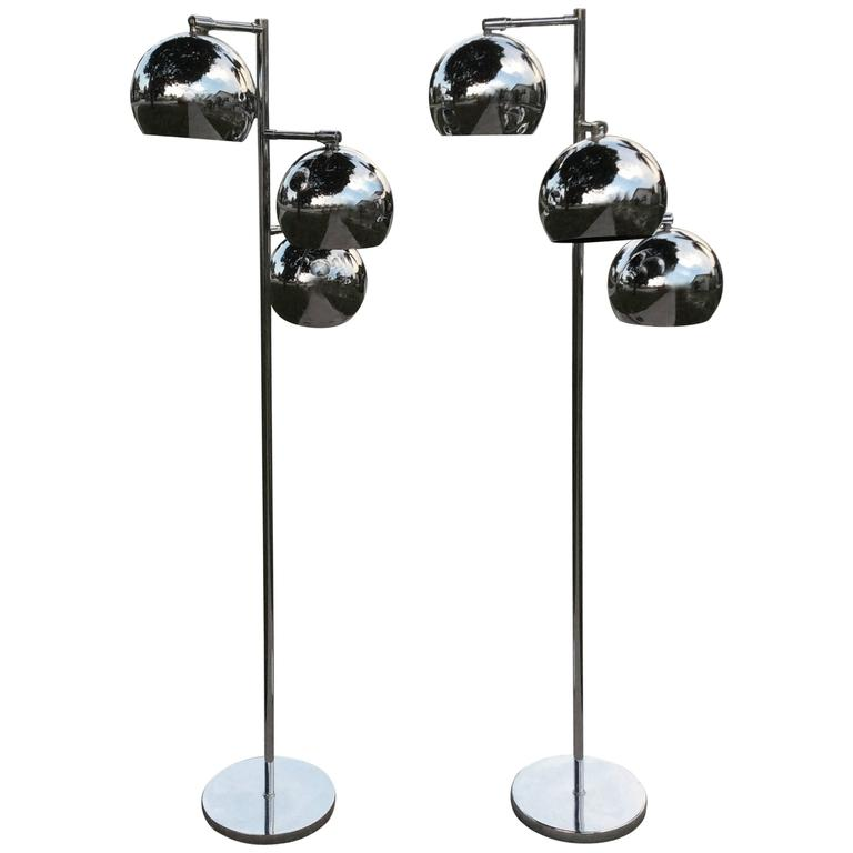 Floor Lamps Pair Of Chrome Triple Eyeball Ball Koch Lowy