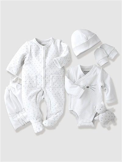 cdb9d4b3d Canastilla 5 prendas bebé recién nacido BLANCO CLARO ESTAMPADO+GRIS CLARO  ESTAMPADO