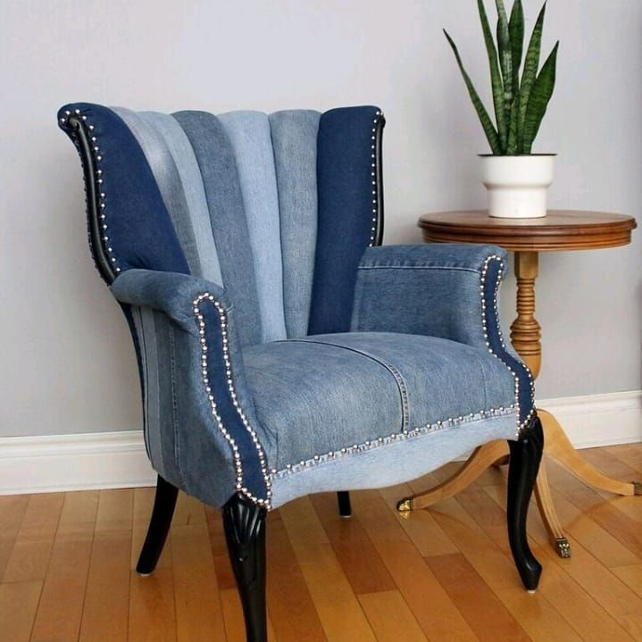 antique armchair reupholstered in second-hand blue jeans ...