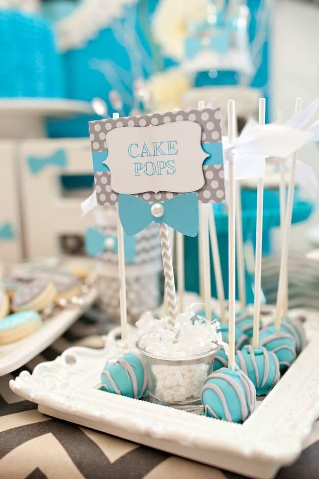 Boys Bow Tie Themed Birthday Party Cake Pop Ideas Baby shower