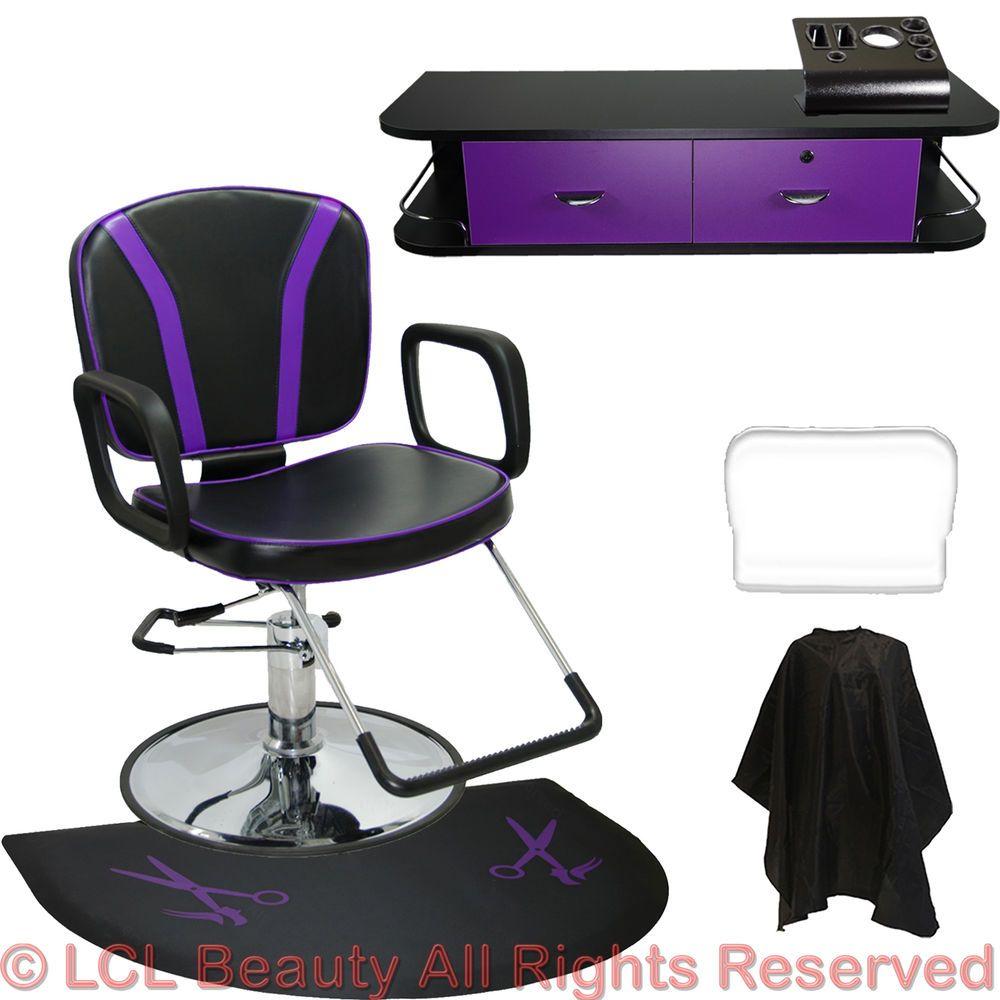 Barber Chair Black Purple Mat Wall Mount Styling Station Beauty