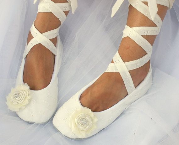a5421b51909 Ivory Ballet Flats Ballet Slippers Lace up Flats by SolBijou