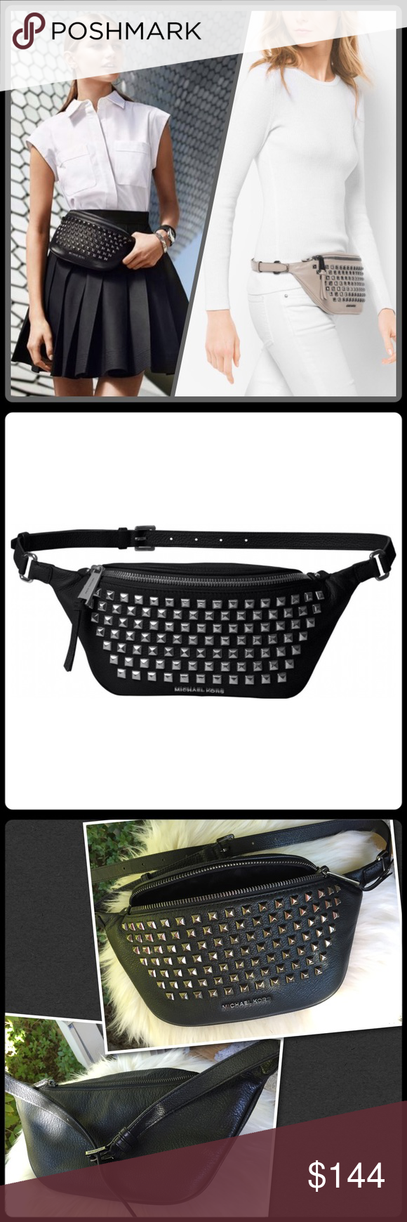 4829fefc6ca9 Michael Kors studded black fanny pack NWT. Rhea style Belt bag fanny pack. Black  leather with dark steel silver pyramid studs. Bag measures 12