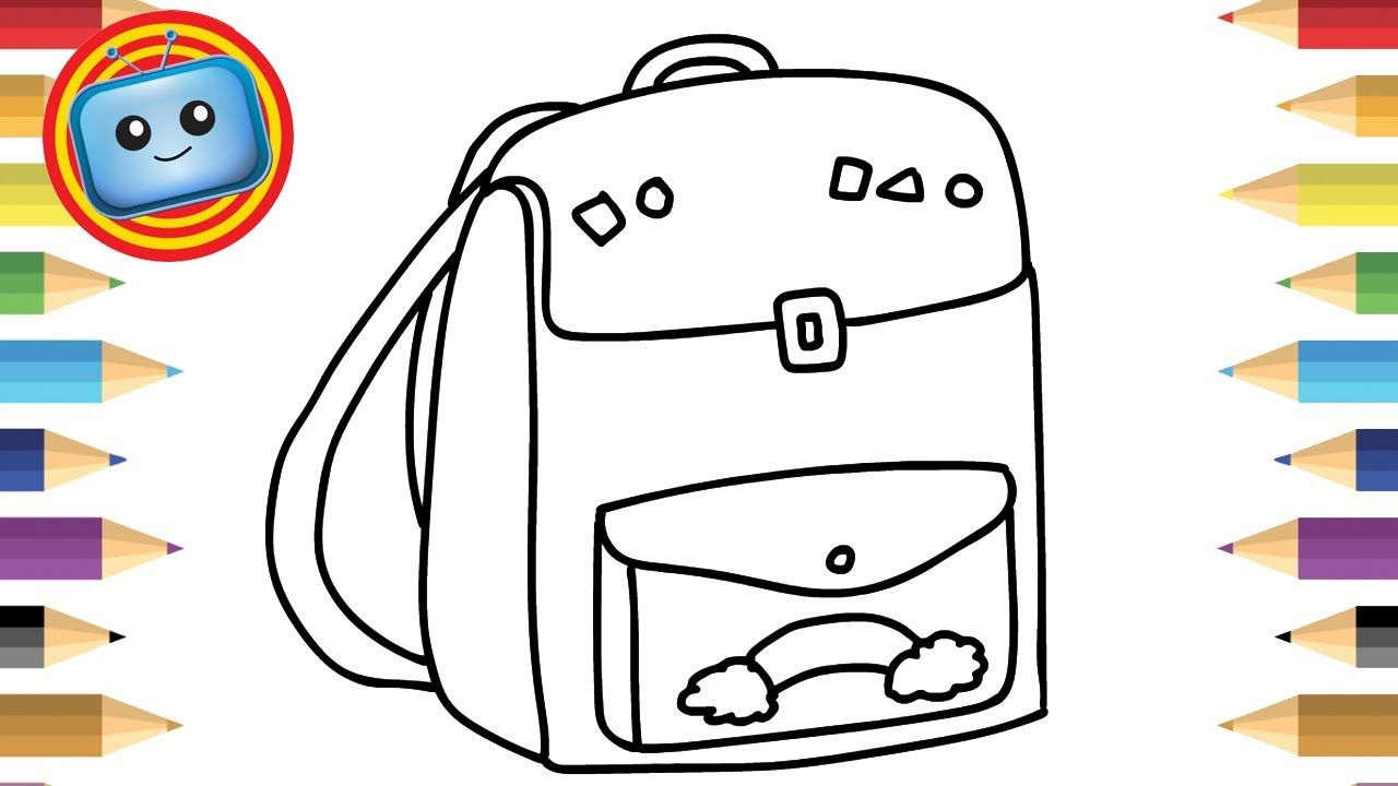 How To Draw A School Bag Colouring Book Simple Drawing Game
