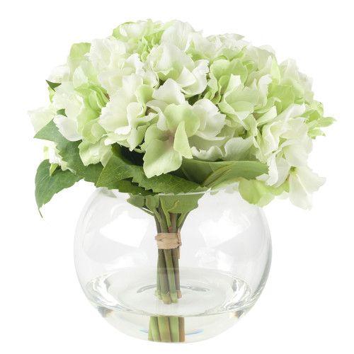 Hydrangea Floral Arrangement In Glass Vase Glass Vase Round Glass Vase Hydrangea Arrangements