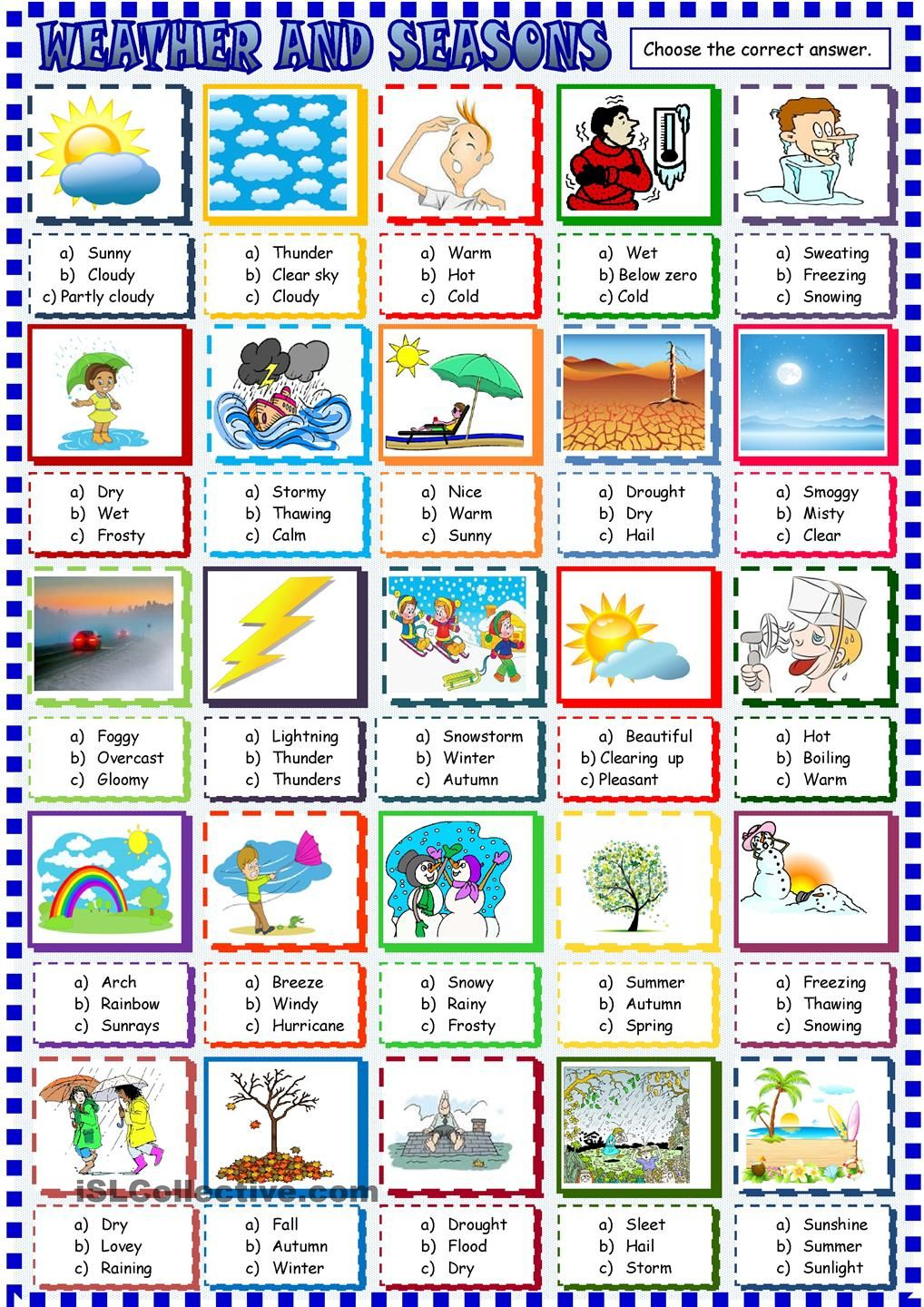 Weather And Seasons Multiple Choice Activity English As A Second Language Weather Worksheets Seasons Worksheets [ 1440 x 1018 Pixel ]