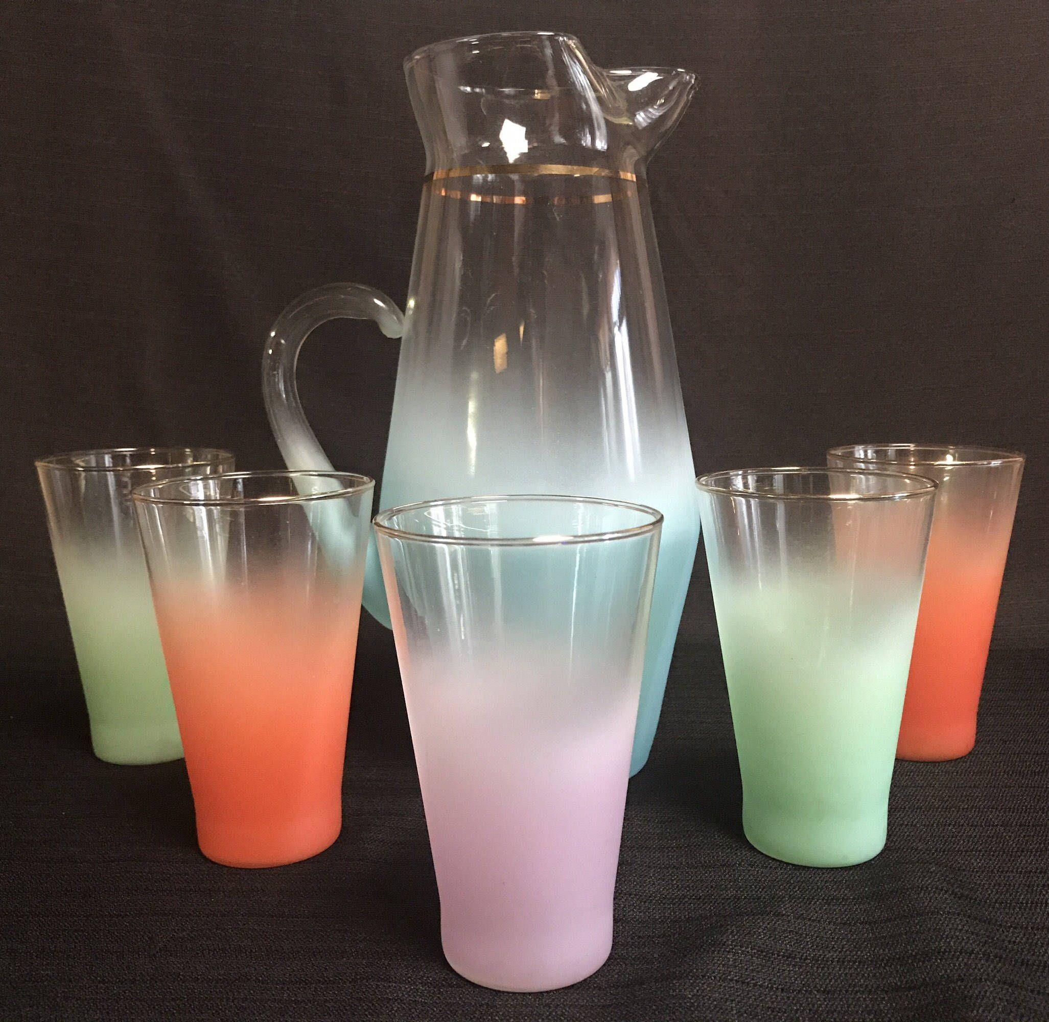 blendo frosted multi colored pitcher set barwaredrinkware mad  - blendo frosted multi colored pitcher set barwaredrinkware mad mencocktaillemonade retro glassbar ware modern nostalgia