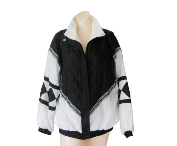 Awesome vintage 90s black and white windbreaker SIZE Womens Large (My mannequin is a size Small.) DETAILS Brand: Janeve Shell: 100%