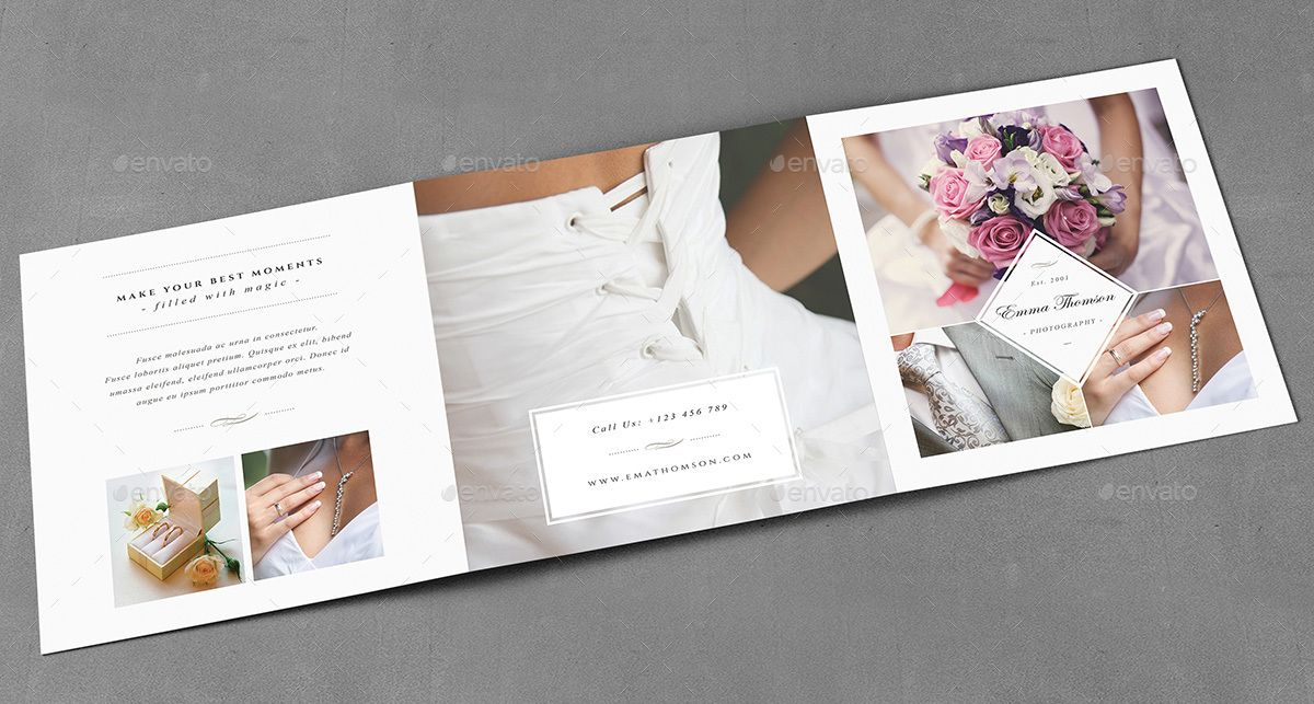 Photography Square Trifold Brochure Template - wedding brochure template