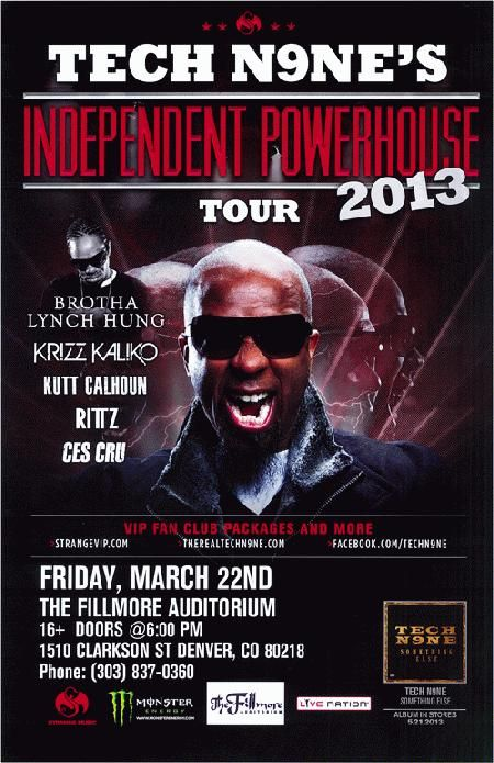 Concert poster for Tech N9ne at The Fillmore Auditorium in
