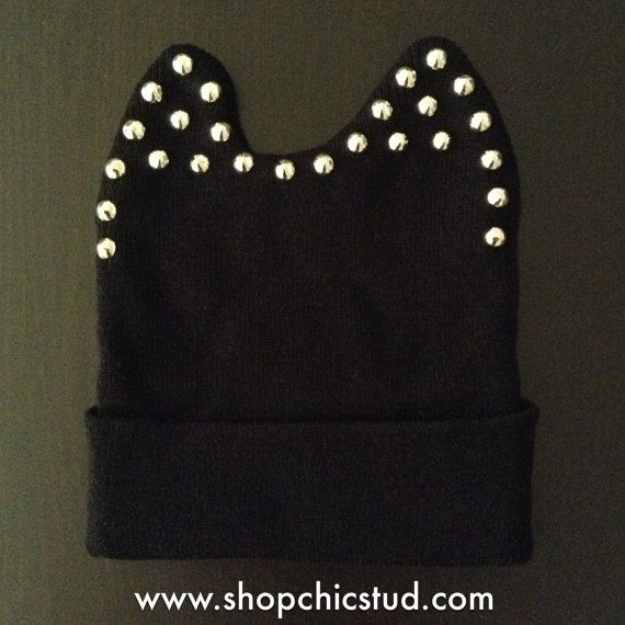 Studded Beanie Studded Ear Detail Black Hat by ShopChicStud