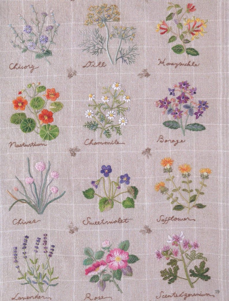 Embroidery patterns botanical herb embroidery