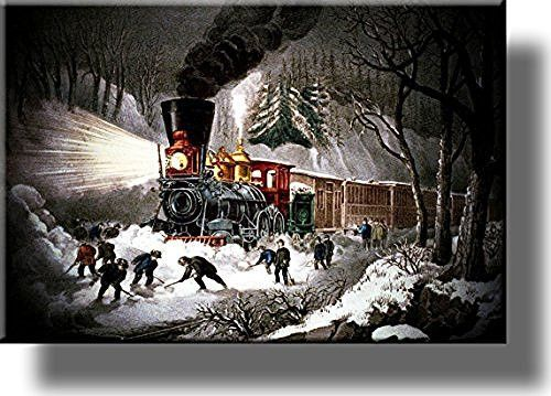 American Railroad Snow Scene Picture on Stretched Canvas, Wall Art Decor, Ready to Hang!