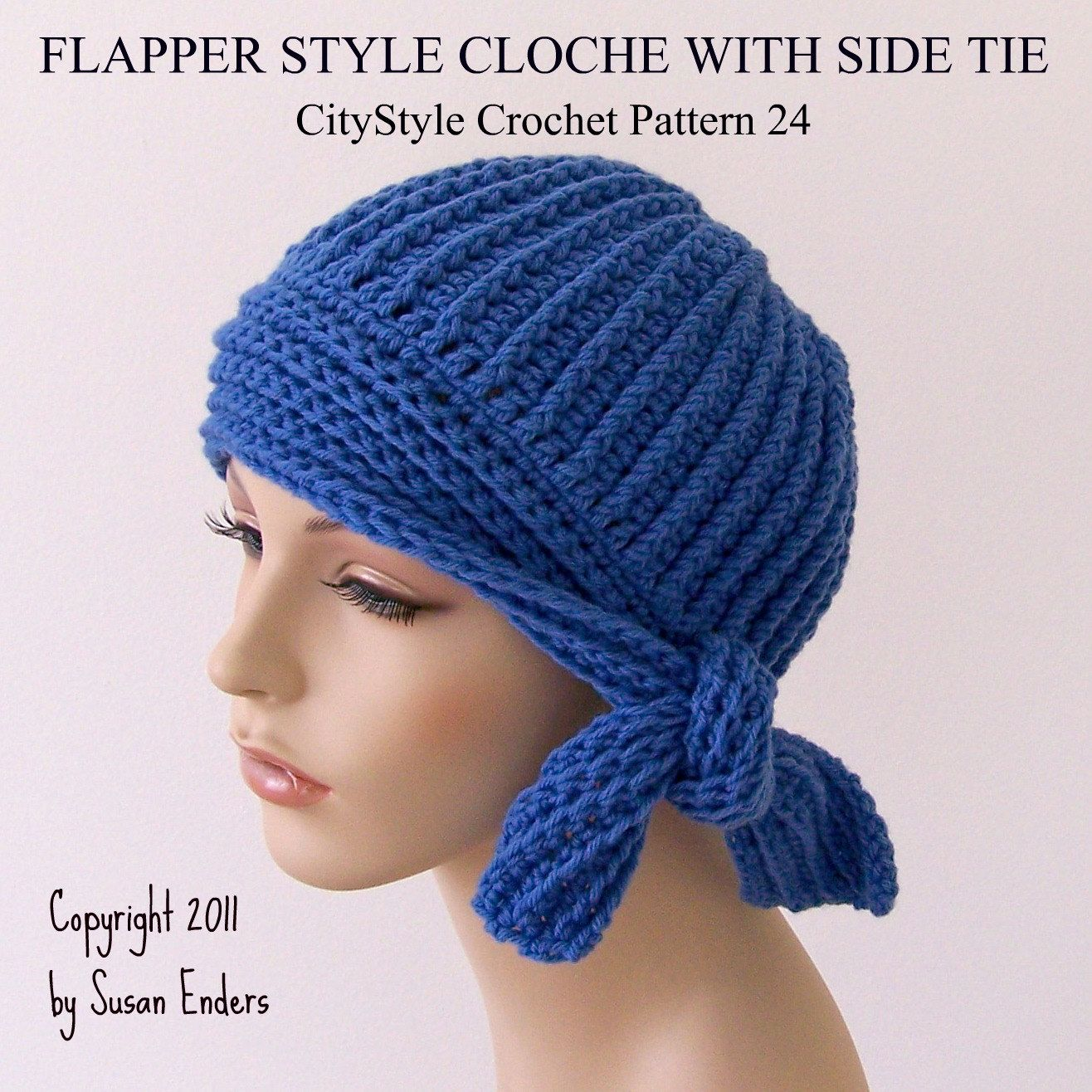 Crochet pattern hat flapper style cloche with side tie easy crochet pattern hat flapper style cloche with side tie easy womens crochet hat pattern 1920s flapper hat pdf instant digital download bankloansurffo Images