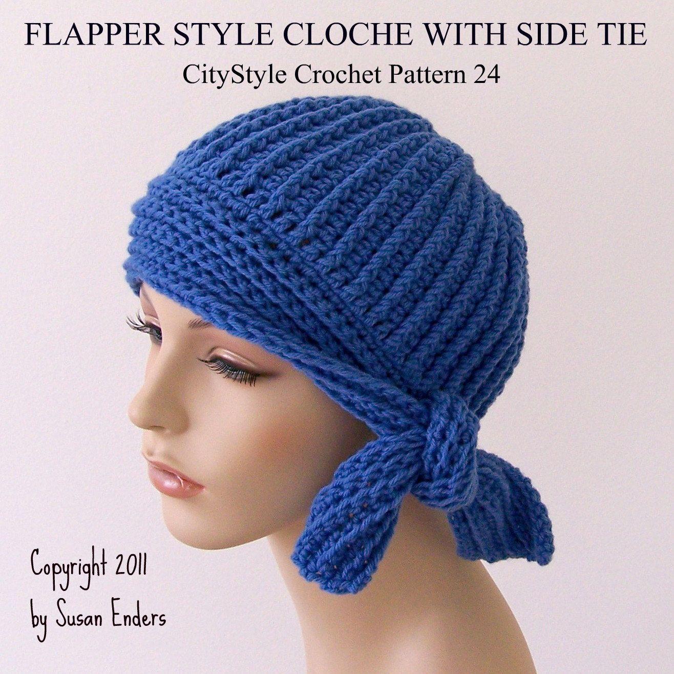 Crochet Pattern Hat, Flapper Style Cloche with Side Tie, Easy ...