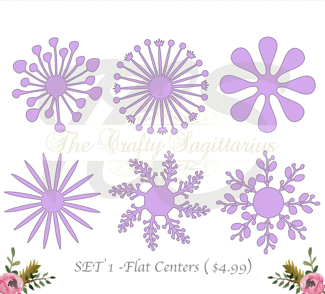 Svg Set 1 6 Different Flat Center For Paper Flowers Machine Use