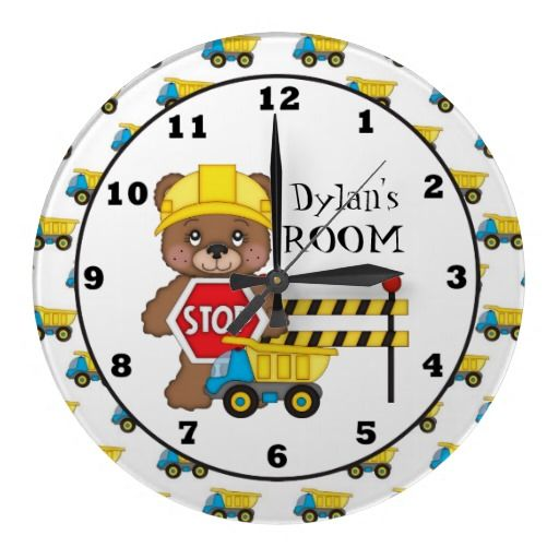 Construction Bear Kids Room Wall Clock Kids Room Wall Kids Room Wall Clock