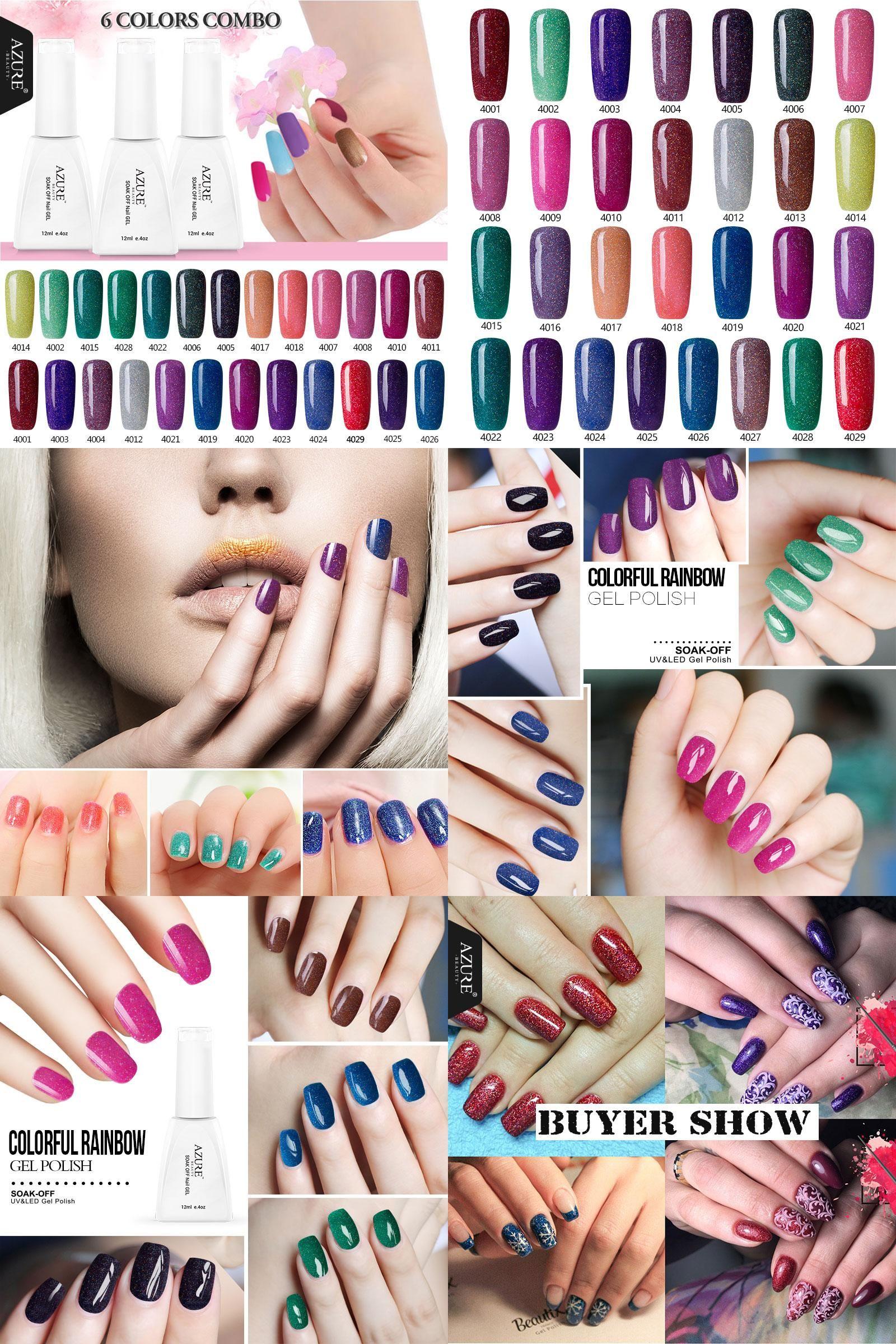 Visit to Buy] Azure Beauty 12ML Shiny Neon UV Nail Gel Polish Long ...