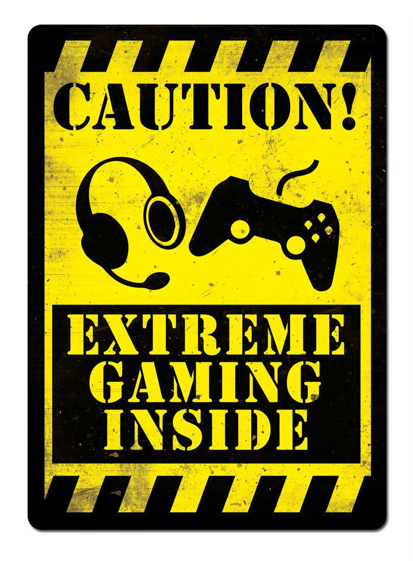 Caution Extreme Gaming Metal Wall Sign Plaque Art