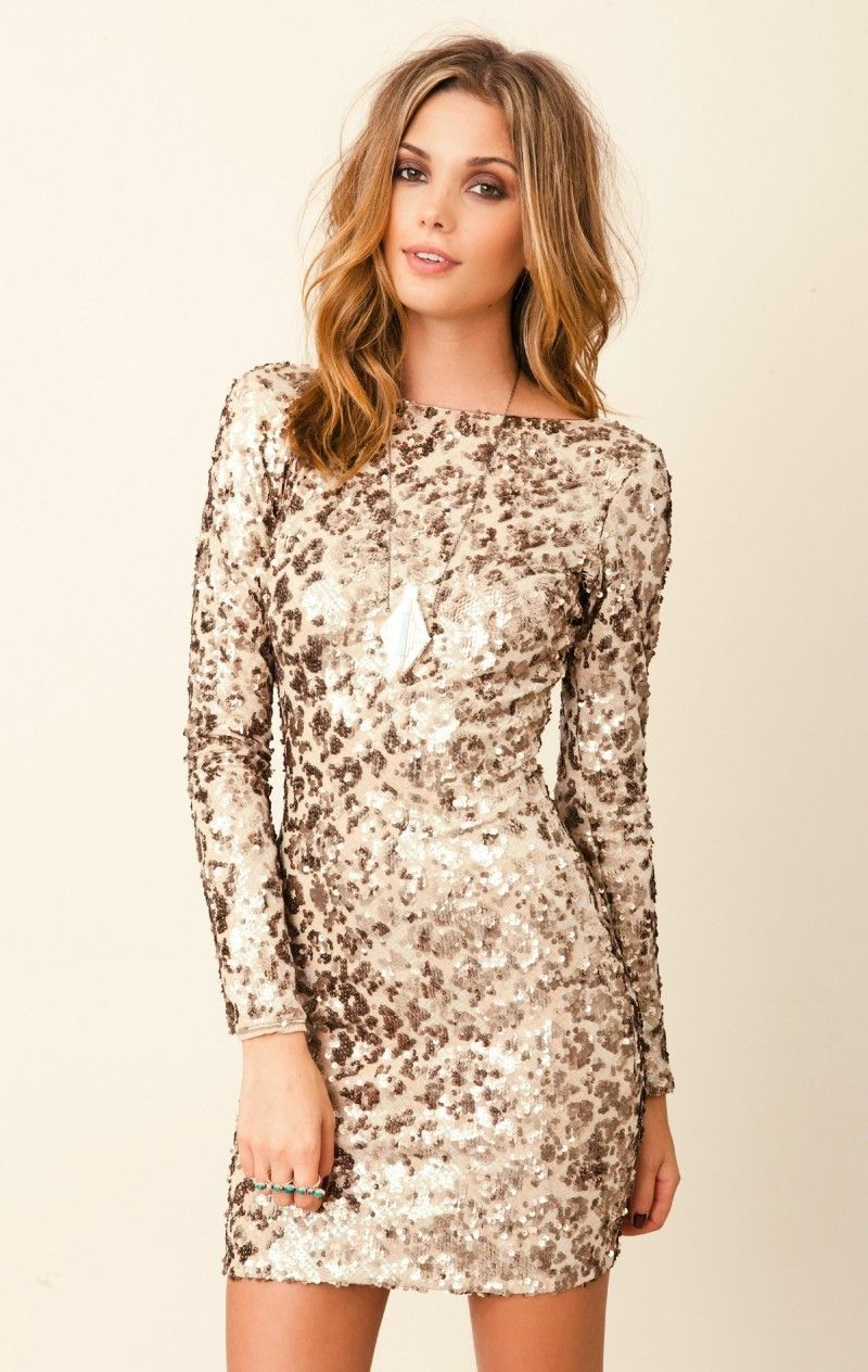 Long Sleeve Gold Sequin Dress | Amazing Long Sleeve Cocktail ...