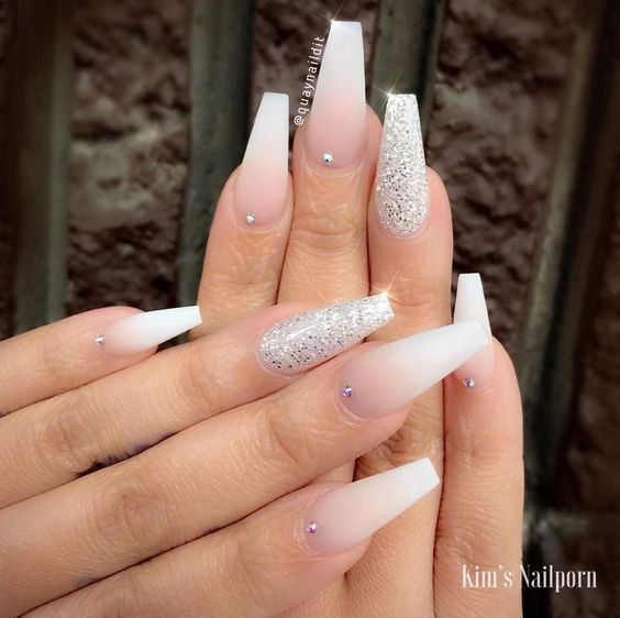 Photo of 75 gold silver white bling glitter wedding nails # nail design glitter