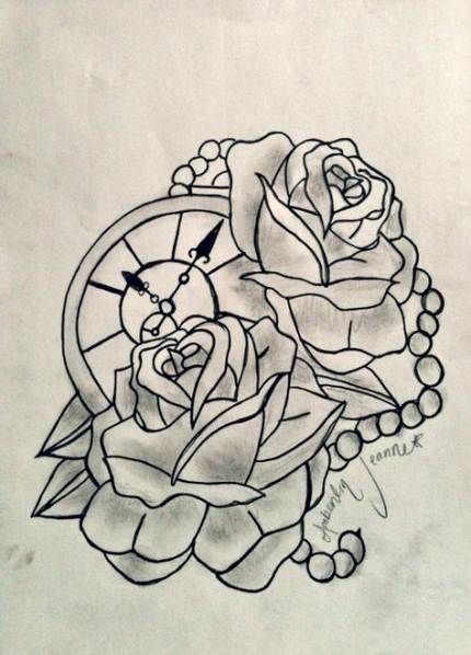 Cover Up Rose Outline: Tattoo Compass Traditional Clock 34+ Ideas For 2019