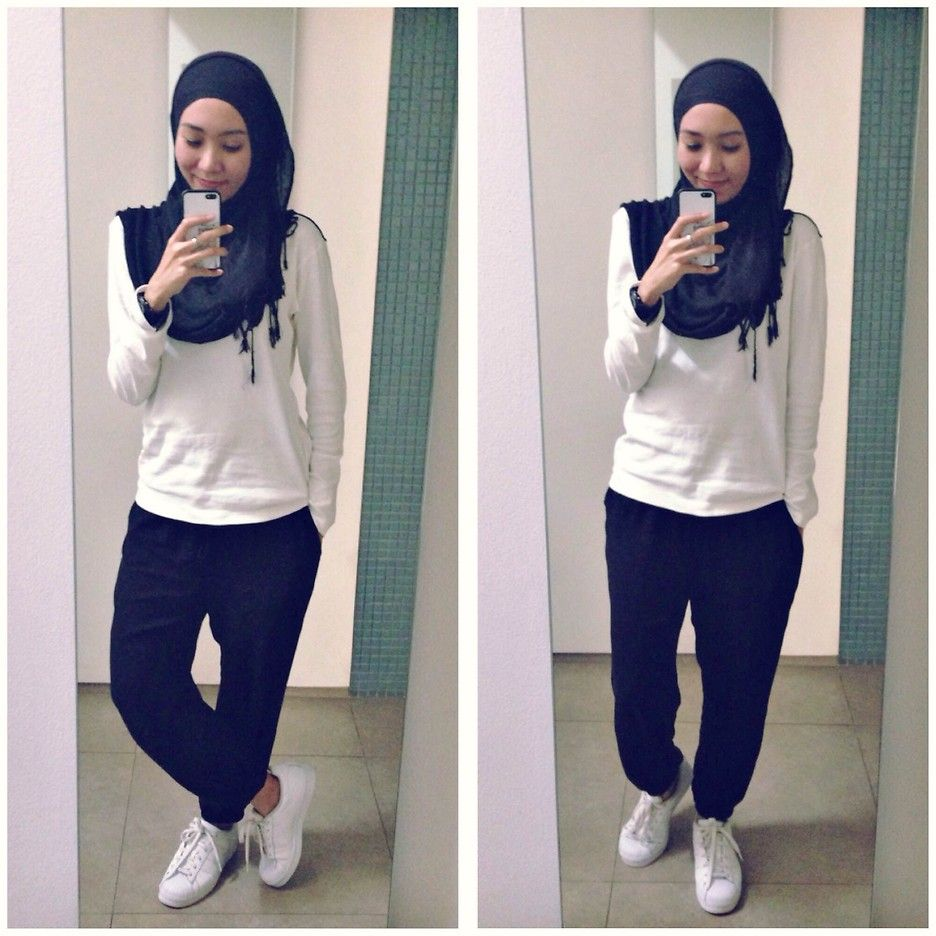 Ootd Casual Hijab Outfit Uniqlo Sweatshirt HM Tanktop Uniqlo