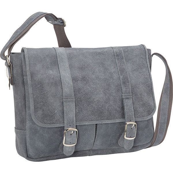 David King & Co. Double Strap Messenger ($144) ❤ liked on Polyvore featuring bags, messenger bags, grey, grey bag, messenger bag, flap messenger bag, gray bag and courier bag