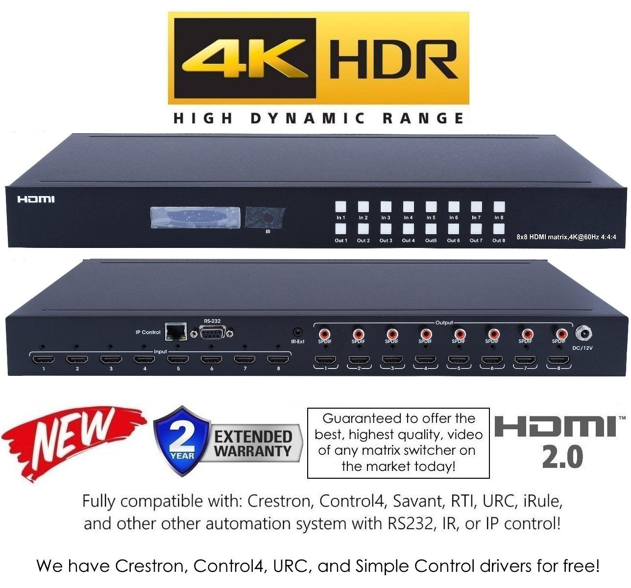 8x8 HDMI 2 0 HDR 4K 60HZ MATRIX SWITCHER YUV 444 HDCP2 2