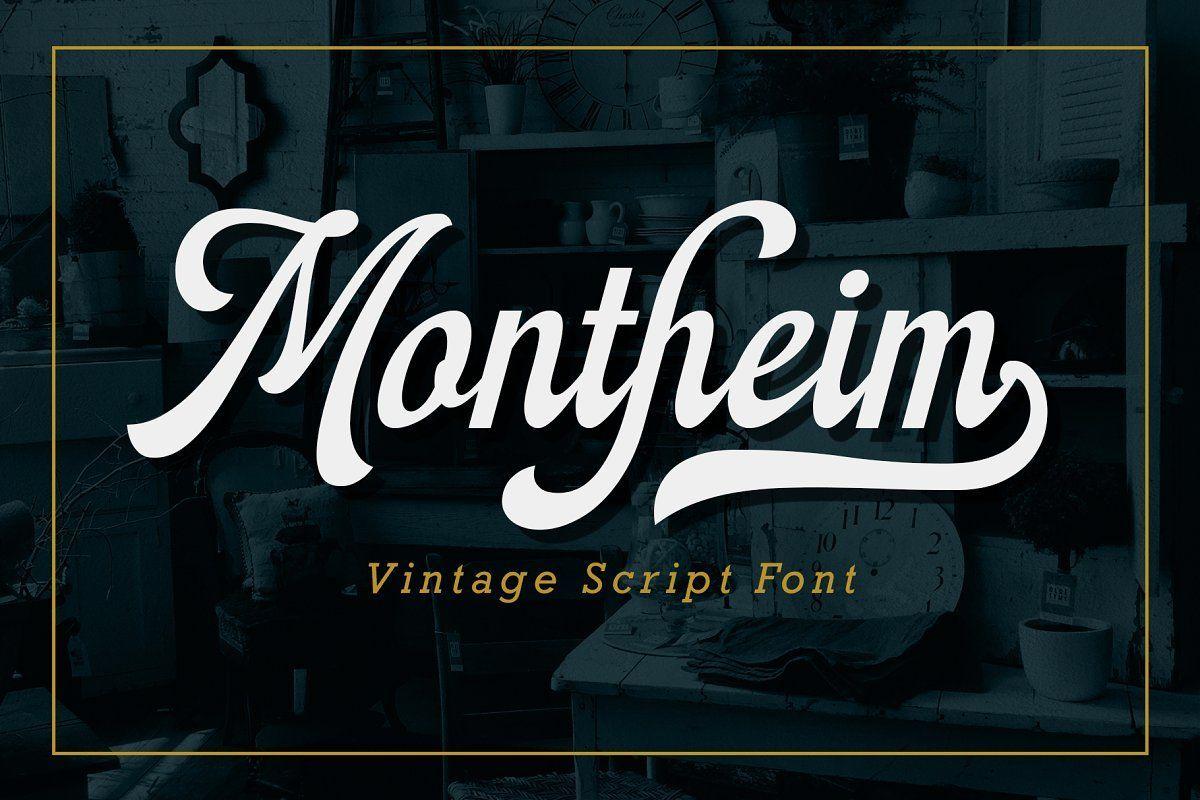 Montheim Script Vintage Script Fonts Retro Font Script