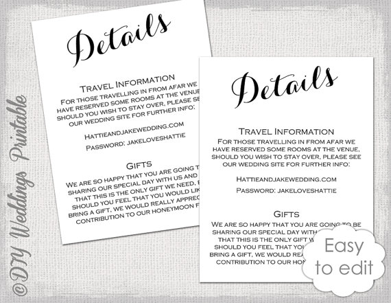 Wedding Details Enclosure Template Diy By Diyweddingsprintable