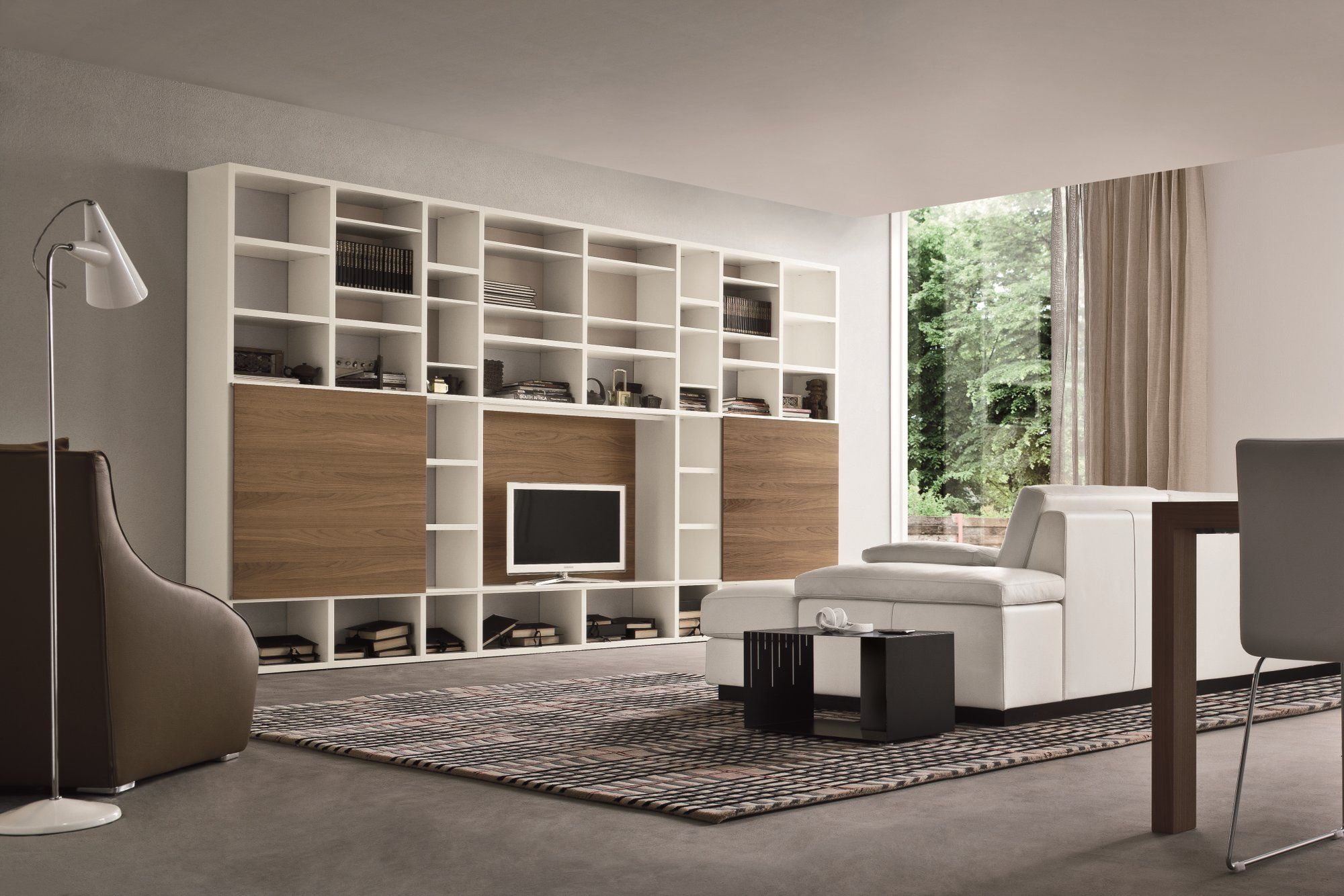 Mueble Modular De Pared Lacado Con Soporte Para Tv Speed O  # Mueble Soporte Tv Diseno