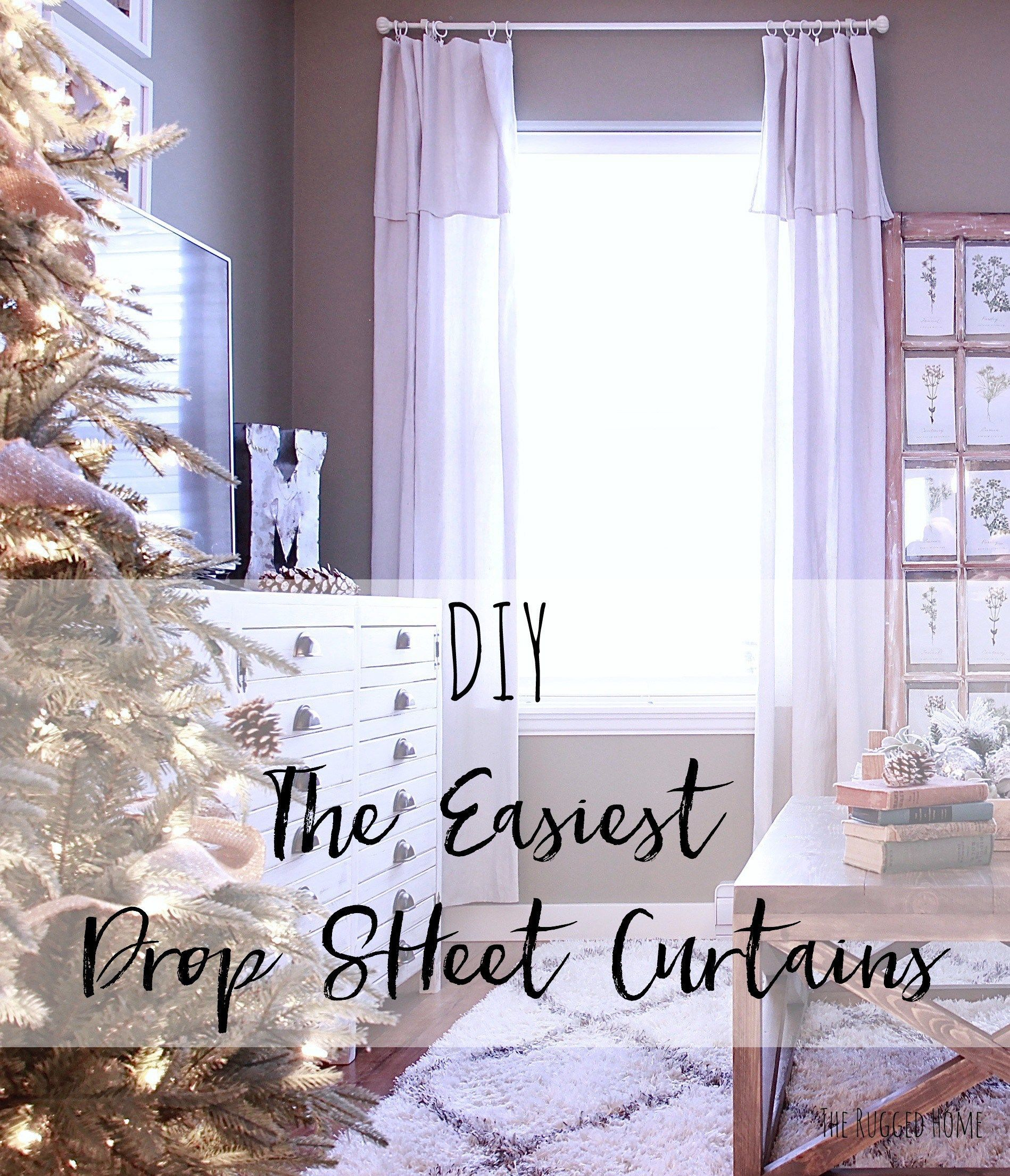 Latest window coverings 2018  diy the easiest drop sheet curtains drop sheets from home depot
