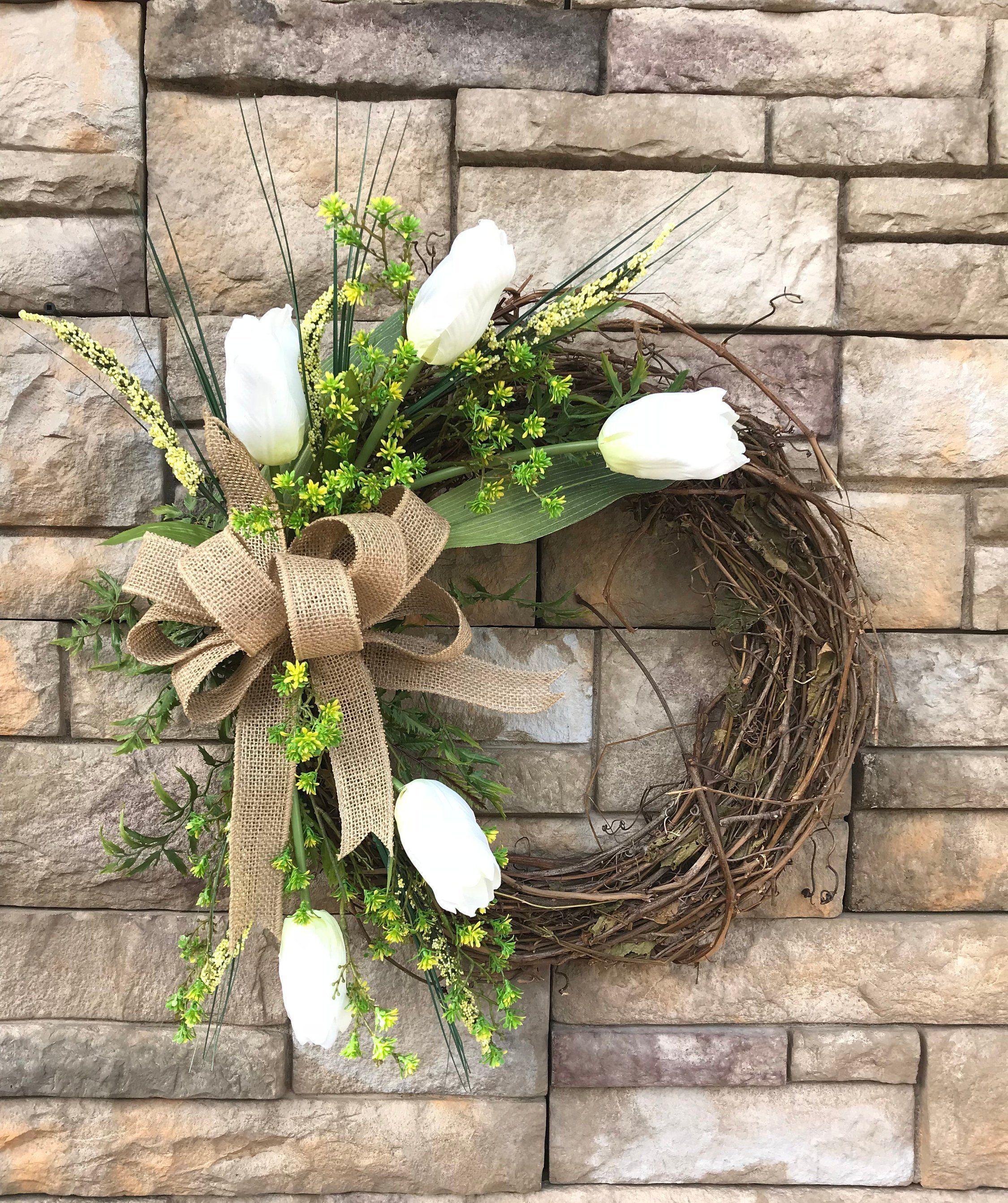 Photo of Soft Yellow Cream Tulip Silk Grapevine Wreath-Tulip Front Door Wreath-Spring Door Wreath-Soft Yellow-Cream Tulips-Housewarming Gift