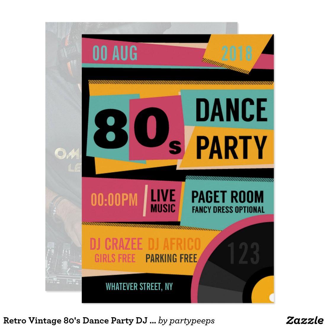 Retro Vintage 80\'s Dance Party DJ Club Invitation | DJ Party ...