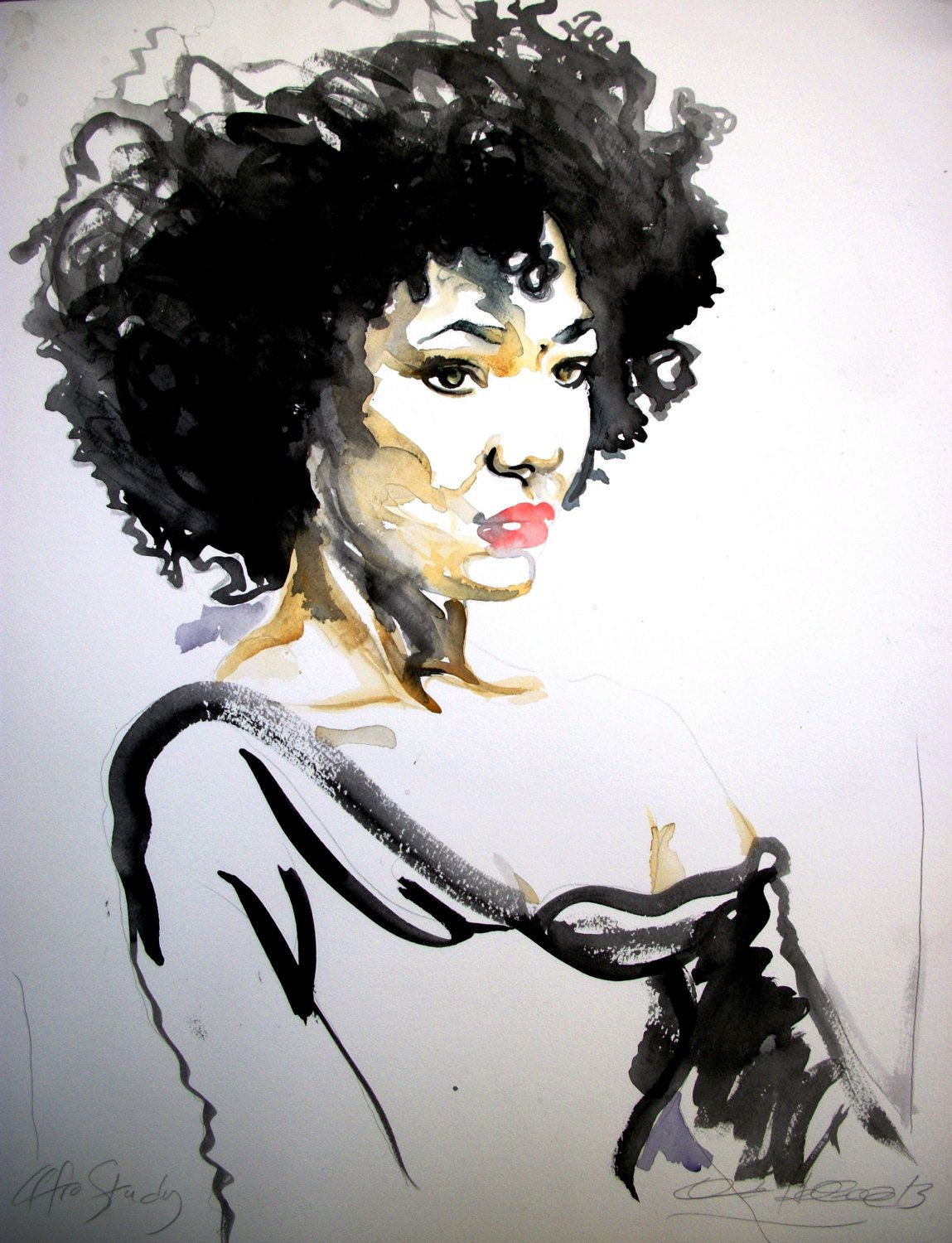 African American Woman Natural Hair Afro Watercolor Illustration