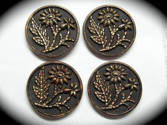 Antique Buttons Set of 4 Victorian Era Metals with Florals (ad)
