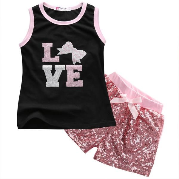Love Tank & Sequin Short Set