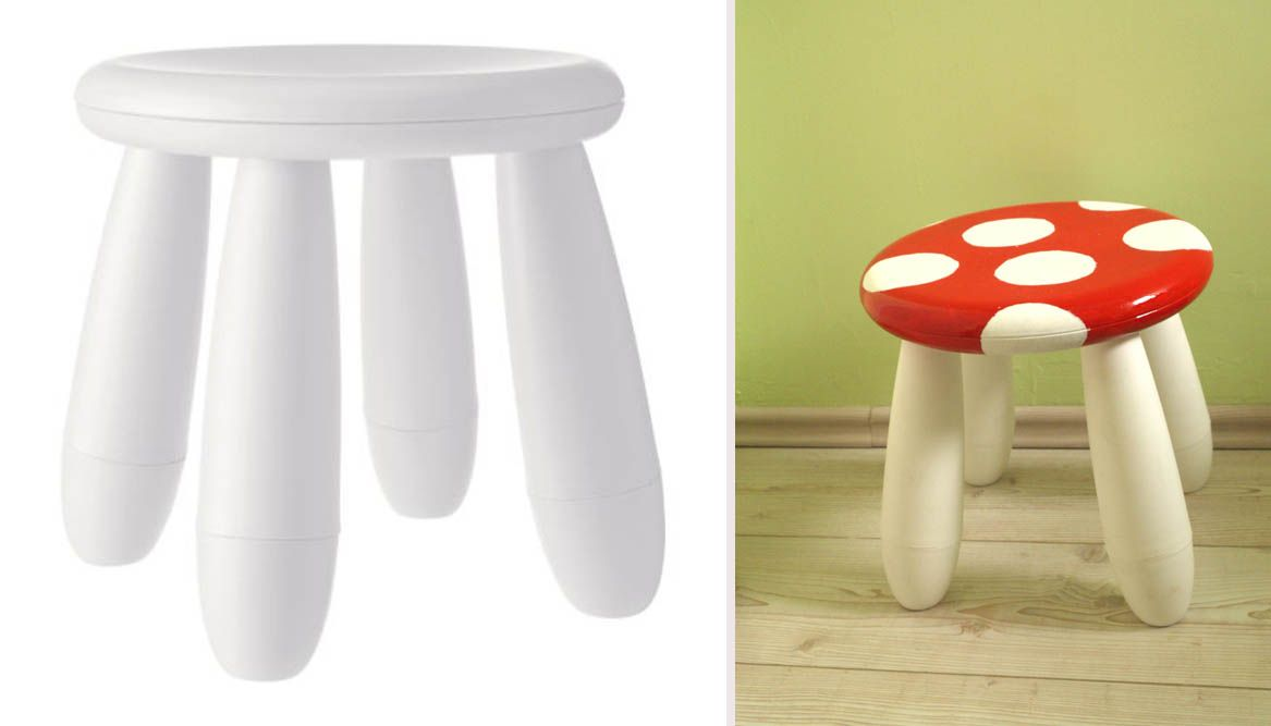 ikea hack mammut chair became a mushroom little desk ikea hack pinterest kinderzimmer. Black Bedroom Furniture Sets. Home Design Ideas