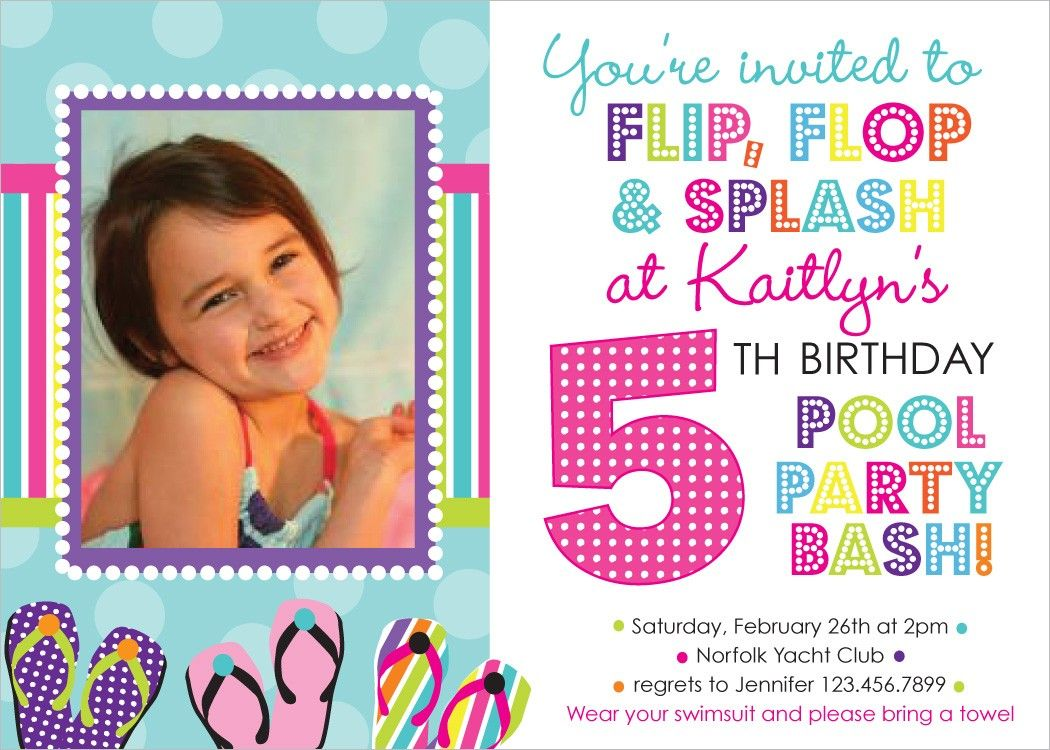 Flip Flop Pool Party Birthday Photo Invitation by inkberrycards ...