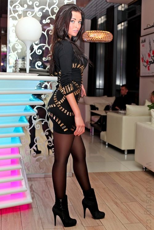 black pantyhose and black boots