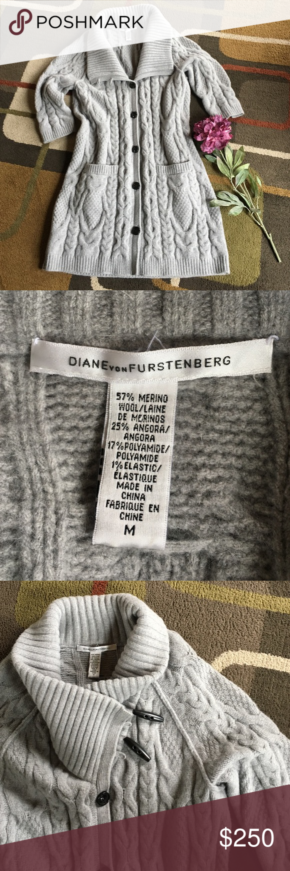 Spotted while shopping on Poshmark: Diane von Furstenberg cable knit cardigan🌺! #poshmark #fashion #shopping #style #Diane von Furstenberg #Sweaters