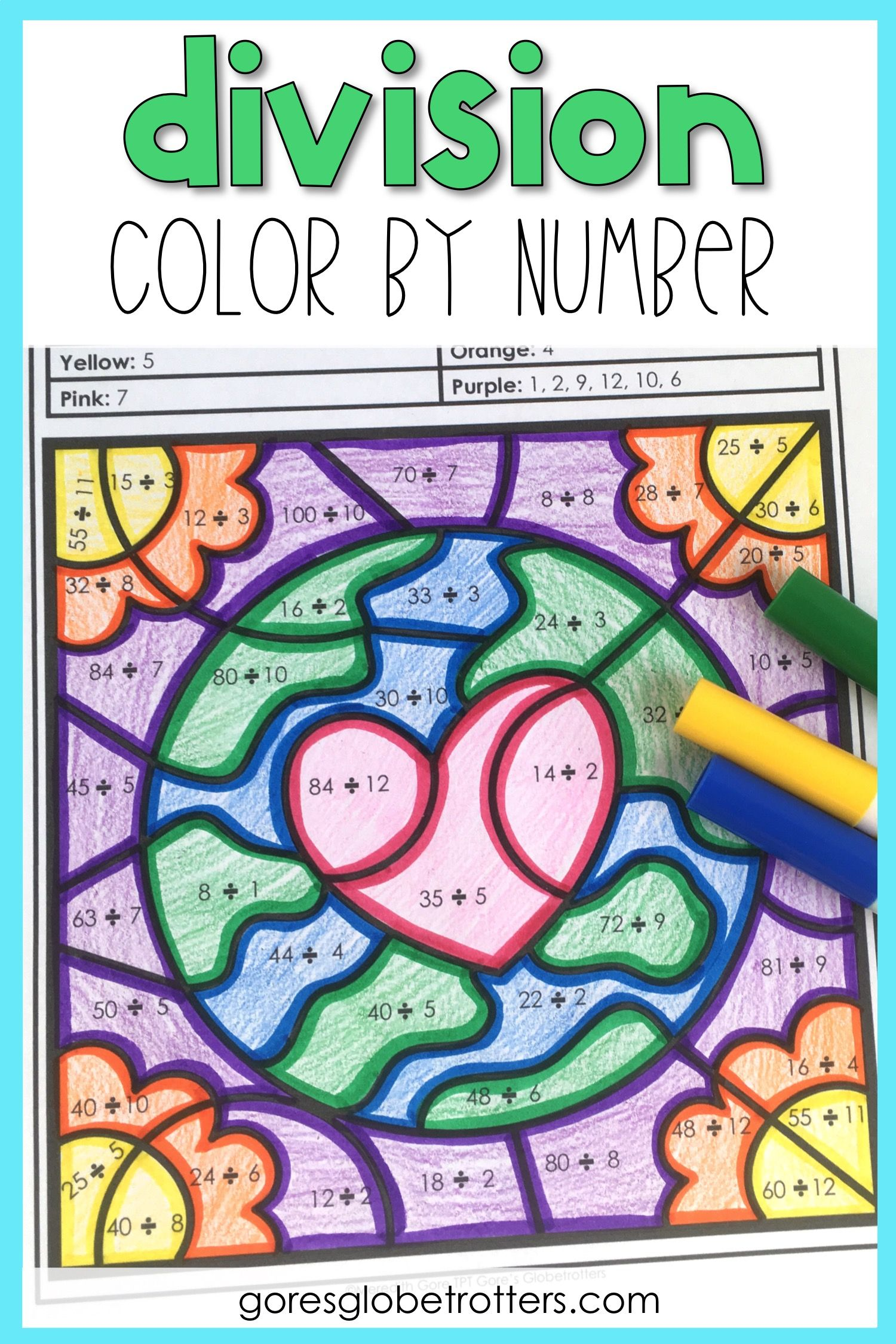 Earth Day Math Color by Number Differentiated Division   Math coloring [ 2250 x 1500 Pixel ]
