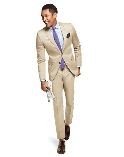 Tan suit with purple tie | Teju Babyface's Sartorial Elegance ...