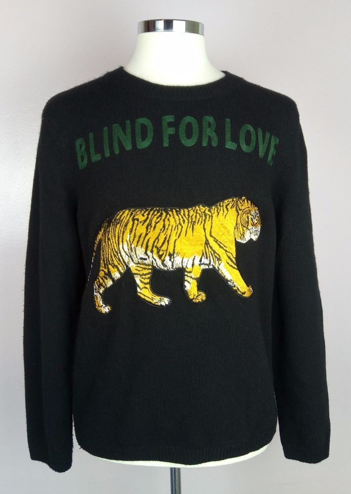 65b77477 100% Authentic GUCCI 'Blind For Love' Tiger Wool Sweater Jumper XL #GUCCI  #SweaterJumper