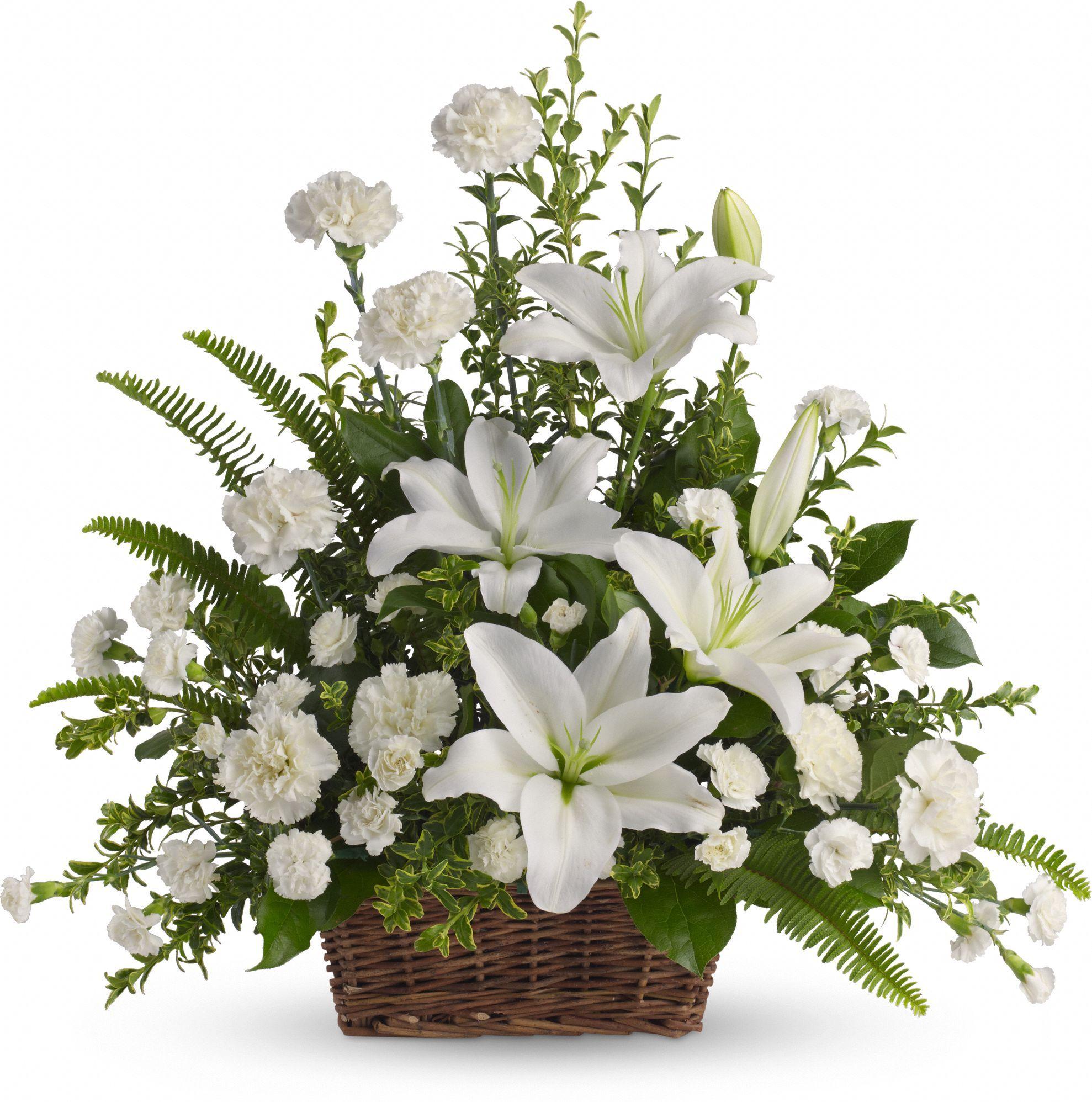 Peaceful White Lilies Basket Very pretty Flower arrangements